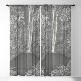 A place only you and I know - The Secret Garden waterfall black and white photography - photographs Sheer Curtain