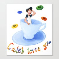 caleb troy Canvas Prints featuring Caleb Loves You by HoneysuckleImagi
