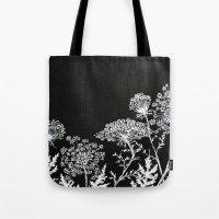 alisa burke Tote Bags featuring queen anne's lace by Alisa Burke