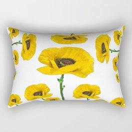 YELLOW POPPIES FLOWER ON WHITE Rectangular Pillow
