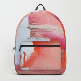 Moving Mountains: a minimal, abstract piece in reds and gold by Alyssa Hamilton Art Backpack