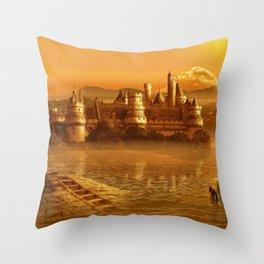 The Golden Fairy Tale Castle Throw Pillow