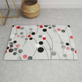 Winterberry - Abstract - Black, Gray, Red, White Rug