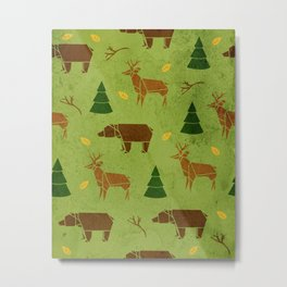 Woodland Origami Metal Print