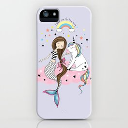 Mermaid & Unicorn iPhone Case