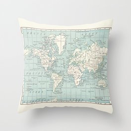 World Map in Blue and Cream Throw Pillow