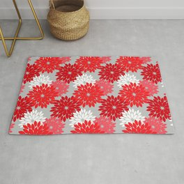 Modern Floral Kimono Print, Coral Red and Gray Rug