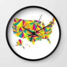 Abstract America Bright Earth Wall Clock