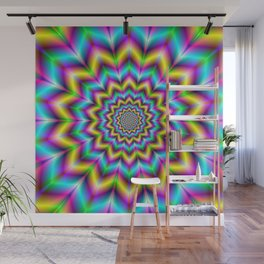 Yellow Blue and Violet Star Wall Mural