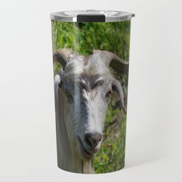 Portrait of A Horned Goat Grazing Travel Mug