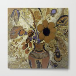 """Odilon Redon """"Etruscan Vase with Flowers"""" Metal Print"""