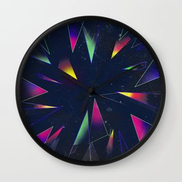 Dimensional Glass and Mirror Yellow Purple Green Wall Clock