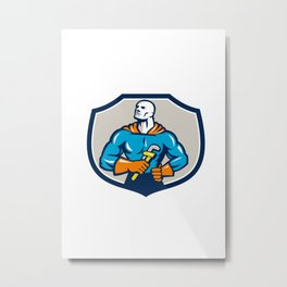 Plumber Superhero Monkey Wrench Crest Retro Metal Print