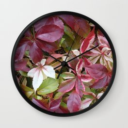 RED GRAPEVINE LEAVES Wall Clock
