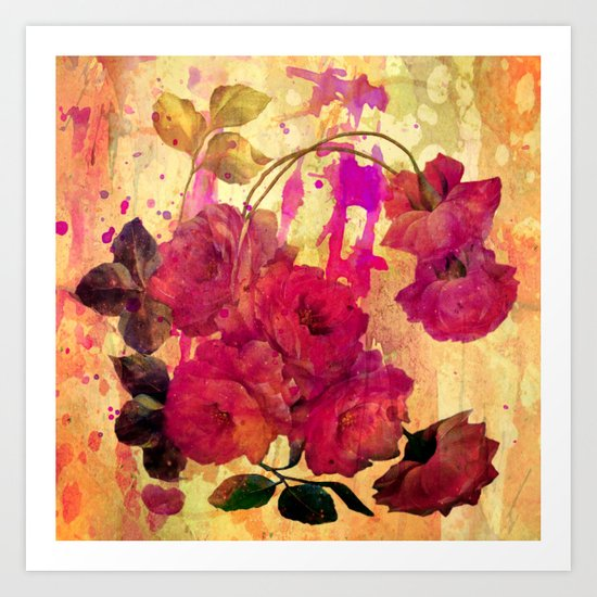 roses on abstract background Art Print