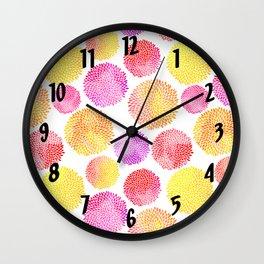 Yellow Red Purple Fireworks Wall Clock