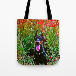 doberman dog red flowers meadow vector art Tote Bag