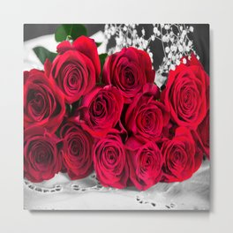 Romantic Bouquet Of Red Roses Metal Print
