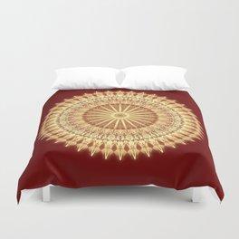 Gold Dark Red Mandala Duvet Cover