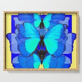 DECORATIVE BLUE SATIN BUTTERFLIES YELLOW PATTERN ART Serving Tray