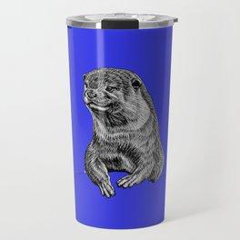 Oriental small clawed otter - ink illustration - blue Travel Mug