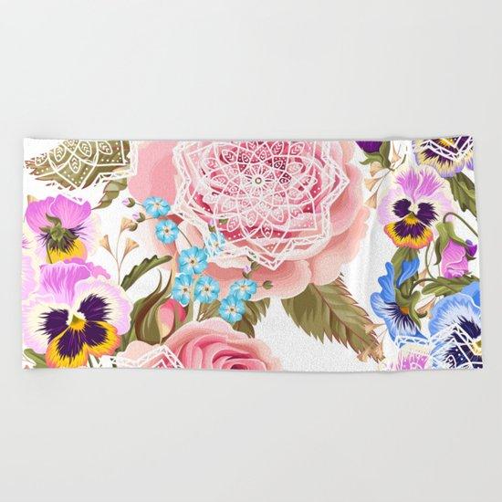 Spring flowers with mandalas Beach Towel