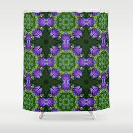 Bottle gentian kaleidoscope mandala (1085) Shower Curtain