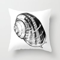 snail Throw Pillows featuring Snail by MARIA BOZINA - PRINT