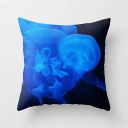 Blue Jelly Fish Throw Pillow
