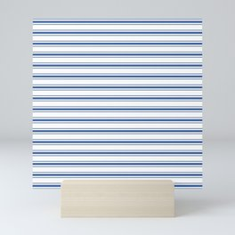 Mattress Ticking Wide Horizontal Stripe in Dark Blue and White Mini Art Print
