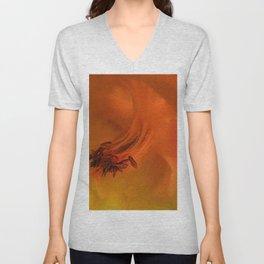 Columbine Flower Edited Orange Unisex V-Neck