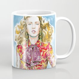fashion #21. blonde girl in a red jacket with gold Coffee Mug