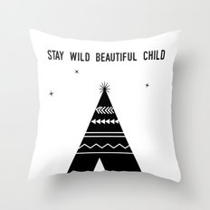 Stay Wild Beautiful Child Throw Pillow