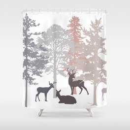 Morning Deer In The Woods No. 2 Shower Curtain