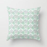 green pattern Throw Pillows featuring Pattern green by De Assuncao création