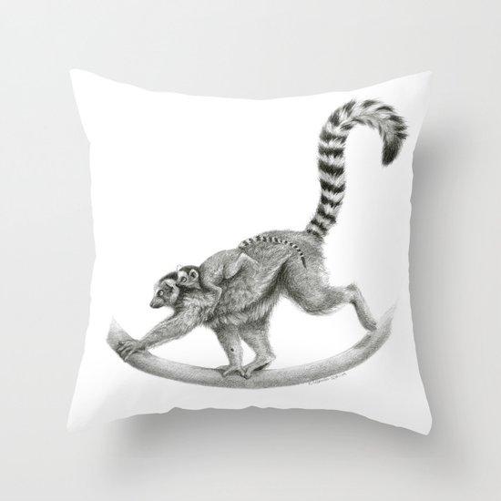 Maki catta with baby. G2012-050 Throw Pillow