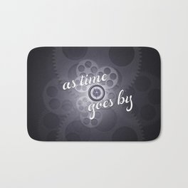 """As Time Goes By"" - black and white vector artwork Bath Mat"