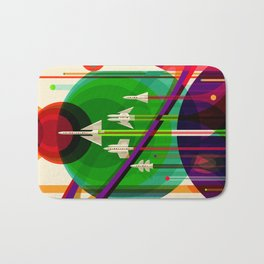 NASA Outer Space Saturn Shuttle Retro Poster Futuristic Explorer Bath Mat