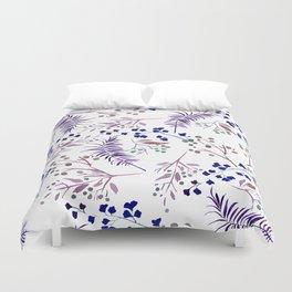 Watercolor navy blue pink tropical berries floral Duvet Cover
