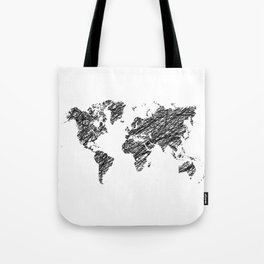 Scribble world map Tote Bag