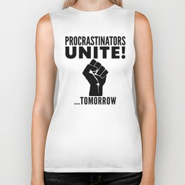Procrastinators Unite Tomorrow (Red) Biker Tank