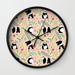 Panda pattern pink Wall Clock