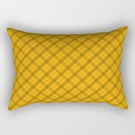 Pale Pumpkin Orange and Black Halloween Tartan Plaid Check Rectangular Pillow