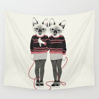 twins Wall Tapestries featuring siamese twins by Laura Graves