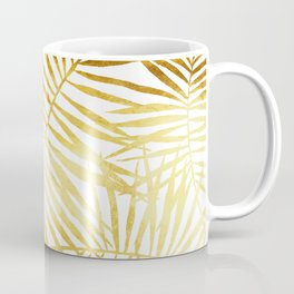 Tropical Palm Fronds in Gold Coffee Mug
