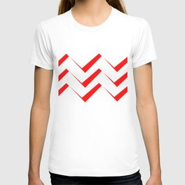 Geometric abstract - zigzag red and white. T-shirt