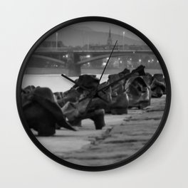Jewish WWII Memorial - Shoes on the Danube Promenade, Budapest black and white photograph / photography Wall Clock