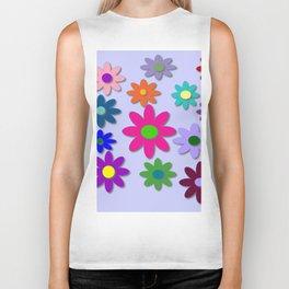 Flower Power - Light Purple Background - Fun Flowers - 60' Hippie Syle Biker Tank