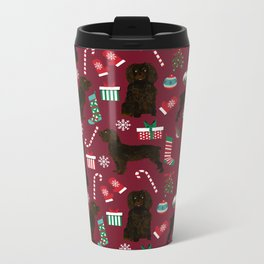 Boykin Spaniel christmas pattern dog breed presents stockings candy canes Metal Travel Mug