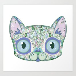 Chromatic Cat III (Green, Blue, Pink) Art Print